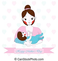 Mother's day illustration with cute mom and baby on hearts background