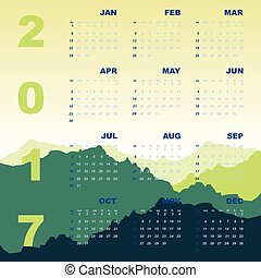 Green mountain view of 2017 calendar, stock vector