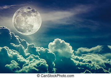 Nighttime sky with clouds and bright full moon with shiny....