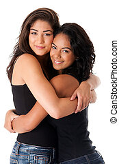 Best friends - hugging women - Two beautiful happy smiling...