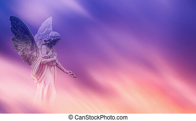 Beautiful angel in heaven panoramic veiw - Beautiful angel...