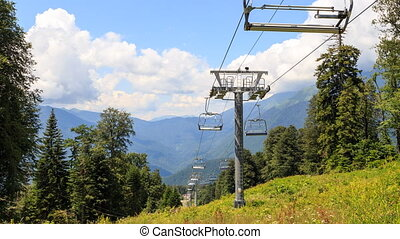 Chairlift. TimeLapse. Zoom. Gazprom center, Sochi, Russia....