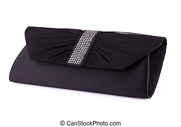 Clutch bag - Black clutch isolated on white background.