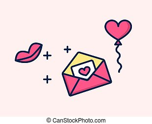 Vector icon love Letter with heart and kiss.