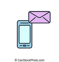 Vector mobile phone icon with letter. Get message.