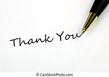 The words Thank You concepts of appreciation and...