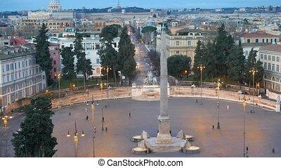 Piazza del Popolo. Dawn. Rome, Italy. UltraHD (4K)