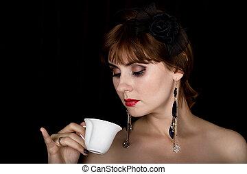 boire, café, mode, femme, beauté, vendange, Maquillage, sombre, femme, thé,  retro, fond, professionnel, modèle, ou