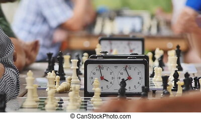 chess tournament in the Park on a summer day