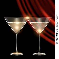 two glasses and red drape - black background and couple of...
