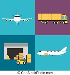 Commercial air shipping service icons set isolated vector...