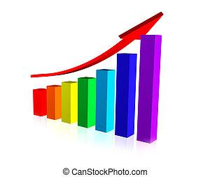 Business Chart with Upward Arrow