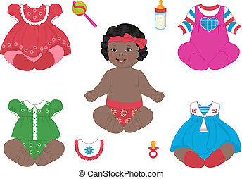 african_baby-girl - a african baby-girl with a set of...