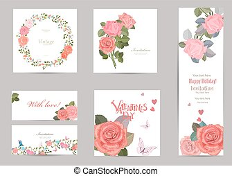collection of greeting cards with blossom roses for your design.
