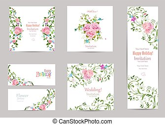 collection of greeting cards with fancy flora for your design