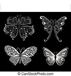 set of delicate butterflies