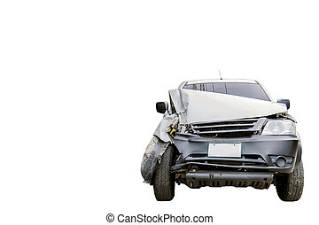 Car accident isolated on white background.