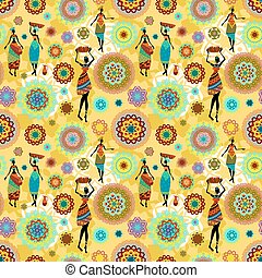 seamless texture with ethnic pattern and lovely african girls
