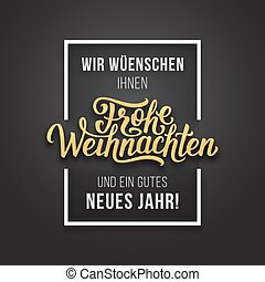 Frohe Weihnachten vector typographic card - Frohe...