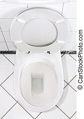 Toilet with open lid - White toilet bowl with open lid