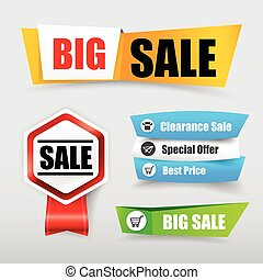 047 Collection of web tag banner for promotion sale discount vector illustration