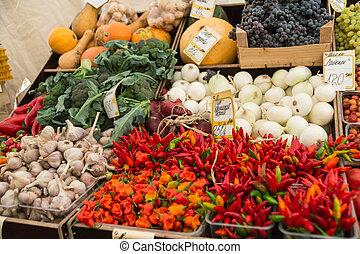 frisk, grönsaken, organisk, marknaden, Bönder