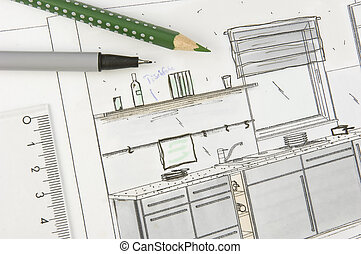 Kitchen planing - Plan scribble of a modern built-in-kitchen