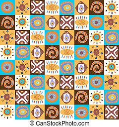 Cute seamless pattern of different folk elements - Cute...