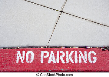 No Parking - No Car Parking Sign on the pavement, parking...