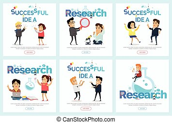 Successful Idea and Research Vector Banners Set - Successful...