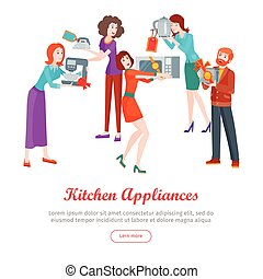 Kitchen Appliances. Set of People on Store Sale.