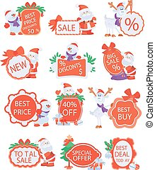 Set of Winter Holidays Discounts Vector Stickers