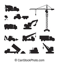 Silhouettes of Construction Machines on White