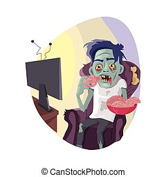 Zombie Watching TV Flat Vector Illustration