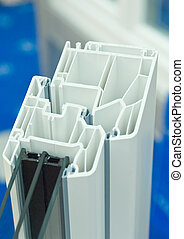 Window frame - Cutaway model of a plastic window frame