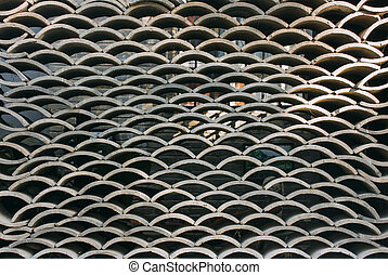 Stacked chinese roof tiles