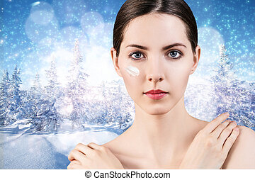 Young beautiful woman face - Portrait of young woman fae...