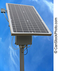 Solar panel with the equipment rack and cables over blue sky...