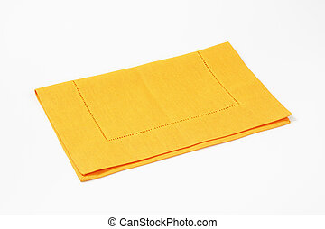 yellow place mat - yellow cloth place mat on white...