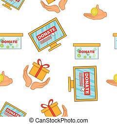 Donate help symbols pattern, cartoon style - Donate help...