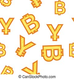 Currency signs pattern, cartoon style