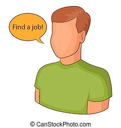 Find a job icon, cartoon style