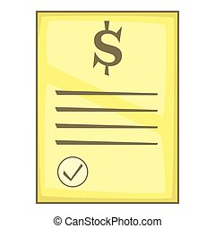 Cheque icon, cartoon style