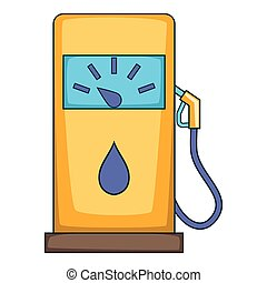 Gas station icon, cartoon style
