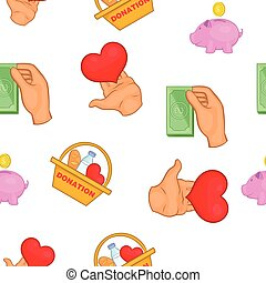 Food and money donation pattern, cartoon style - Food and...