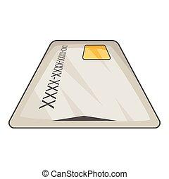 Debit card icon, cartoon style - Debit card icon. Cartoon...