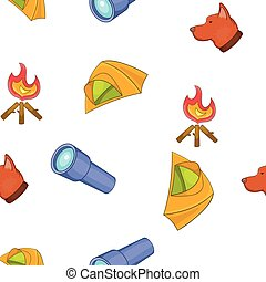 Camping elements pattern, cartoon style