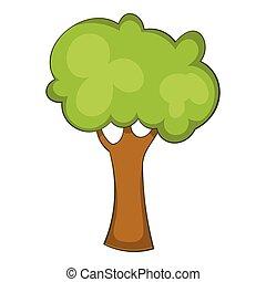 Green tree icon, cartoon style - Green tree icon. Cartoon...
