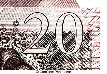 Pound currency background - 20 Pounds - Vintage sepia -...