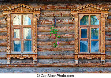 Carved wooden architraves of monastic house, Holy Trinity...